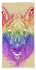 Zentangle Inspired Art- Rainbow Wolf Bath Towel
