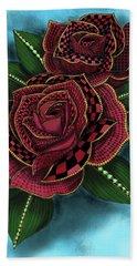 Zentangle Tattoo Rose Colored Hand Towel