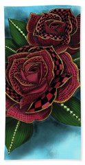 Zentangle Tattoo Rose Colored Bath Towel