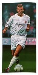 Zidane At Real Madrid Painting Hand Towel by Paul Meijering