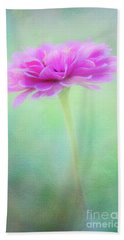 Painted Pink Zinnia Bath Towel