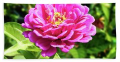 Zinnia Flower Pink Tones Bath Towel