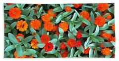 Zinnia Flower - Profusion Orange Bath Towel