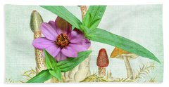 Zinnia In The Mushrooms Hand Towel by Larry Bishop