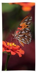 Zinnia With Butterfly 2668 Hand Towel