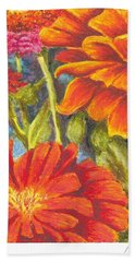 Zinnias Bath Towel