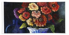 Bath Towel featuring the painting Zinnias by Marlene Book