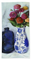 Bath Towel featuring the painting Zinnias With Blue Bottle by Marlene Book