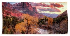 Zion Autumn Sunset Hand Towel