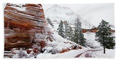Zion Road In Winter Bath Towel by Daniel Woodrum