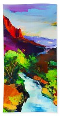 Bath Towel featuring the painting Zion - The Watchman And The Virgin River by Elise Palmigiani