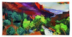 Bath Towel featuring the painting Zion - The Watchman And The Virgin River Vista by Elise Palmigiani