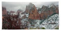 Zion Winter Skyline Hand Towel
