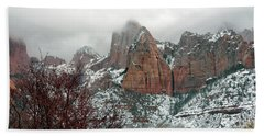 Zion Winter Skyline Hand Towel