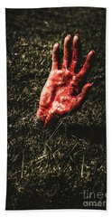 Zombie Rising From A Shallow Grave Bath Towel