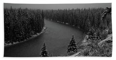 A View From The Side Of The Bow Valley Parkway, Banff National P Bath Towel