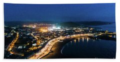 Aberystwyth At Night From The Air Hand Towel