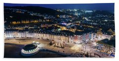 Aberystwyth Wales At Night From The Air Hand Towel