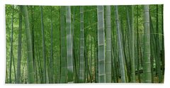 Bamboo Trees In A Forest, Fukuoka Hand Towel