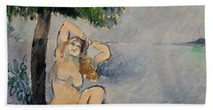 Bather At The Seashore Hand Towel