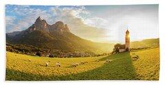 Black Head Sheep Graze By A Church In Alps Hand Towel