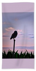 Burrowing Owl On A Stick Hand Towel