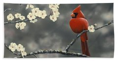 Cardinal And Blossoms Bath Towel