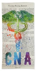 Certified Nursing Assistant Gift Idea With Caduceus Illustration Hand Towel
