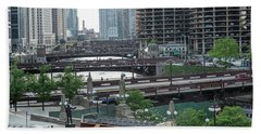 Chicago River Panorama Hand Towel