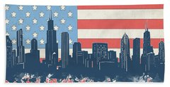 Chicago Skyline Flag Hand Towel