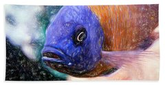 Colored Pencil Red Fin Borleyi Cichlid Hand Towel
