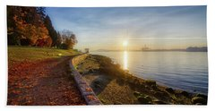 Colorful Autumn Sunrise At Stanley Park Hand Towel