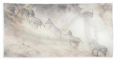 Dramatic Dusty Great Migration In Kenya Bath Towel
