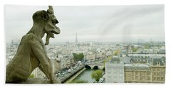Gargoyle Statue At A Cathedral, Notre Hand Towel