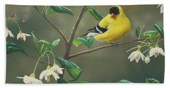 Goldfinch And Snowbells Bath Towel