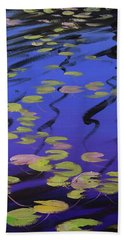 Lilies On Blue Water Hand Towel