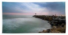 Oceanside Harbor Jetty Sunset Hand Towel