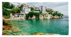 Old Town View Of Skiathos Island, Sporades, Greece.  Bath Towel