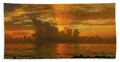 Orange Sun Rays Bath Towel
