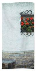 Ornate Window With Geraniums Bath Towel