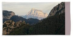 Bath Towel featuring the photograph Pena Montanesa by Stephen Taylor