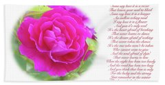 Pink Rose And Song Lyrics Hand Towel