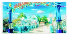 Pleasure Island Sign And Walkway Downtown Disney Bath Towel