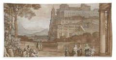 Queen Esther Approaching The Palace Of Ahasuerus Hand Towel