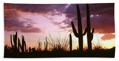 Silhouette Of Saguaro Cactus At Sunset Hand Towel