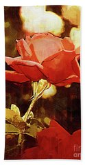 Single Rose Bloom In Gothic Hand Towel