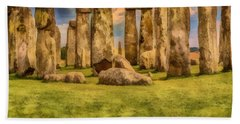 Bath Towel featuring the painting Stonehenge by Harry Warrick