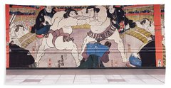 Sumo Wrestling Mural On A Wall, Ryogoku Bath Towel