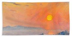 Sunrise Over Dilesi Athens  Hand Towel