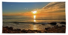 The Calm Sea In A Very Cloudy Sunset Hand Towel